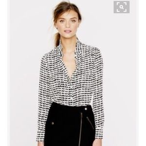 J. Crew factory Heart Print Oxford Blouse